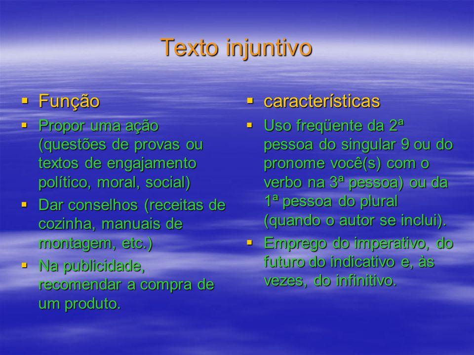 Texto injuntivo Função Função Propor uma ação (questões de provas ou textos de engajamento político, moral, social) Propor uma ação (questões de prova