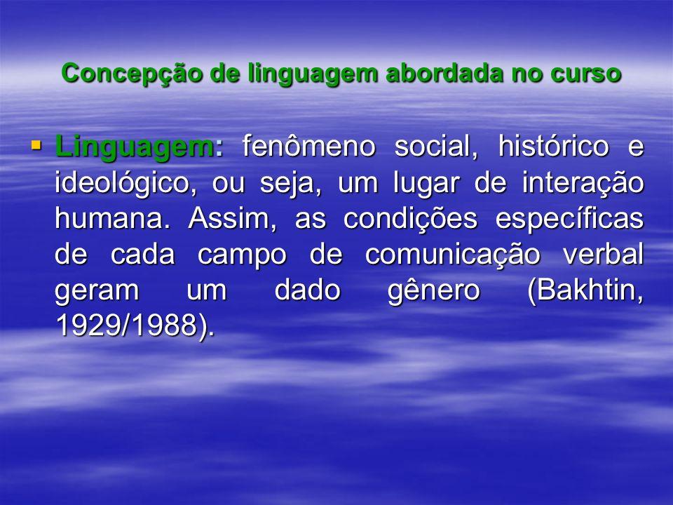 Concepção de linguagem abordada no curso Concepção de linguagem abordada no curso Linguagem: fenômeno social, histórico e ideológico, ou seja, um luga