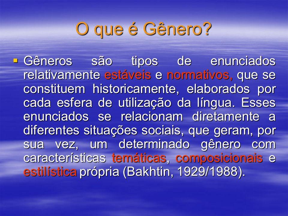 O que é Gênero? Gêneros são tipos de enunciados relativamente estáveis e normativos, que se constituem historicamente, elaborados por cada esfera de u