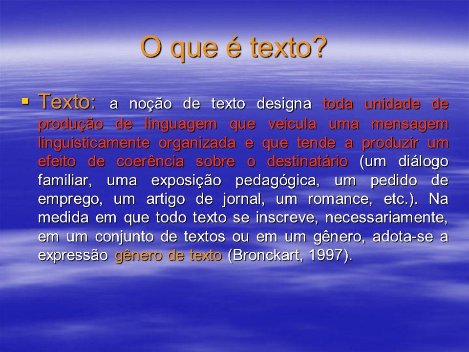 O que é texto? Texto: a noção de texto designa toda unidade de produção de linguagem que veicula uma mensagem linguisticamente organizada e que tende
