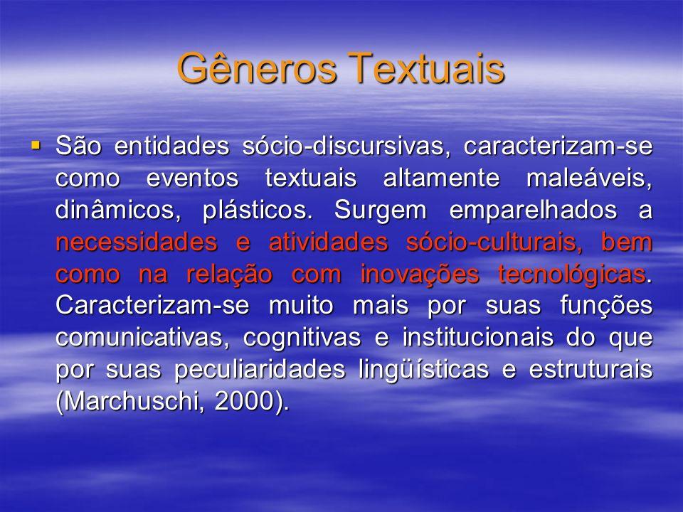 Gêneros Textuais São entidades sócio-discursivas, caracterizam-se como eventos textuais altamente maleáveis, dinâmicos, plásticos. Surgem emparelhados