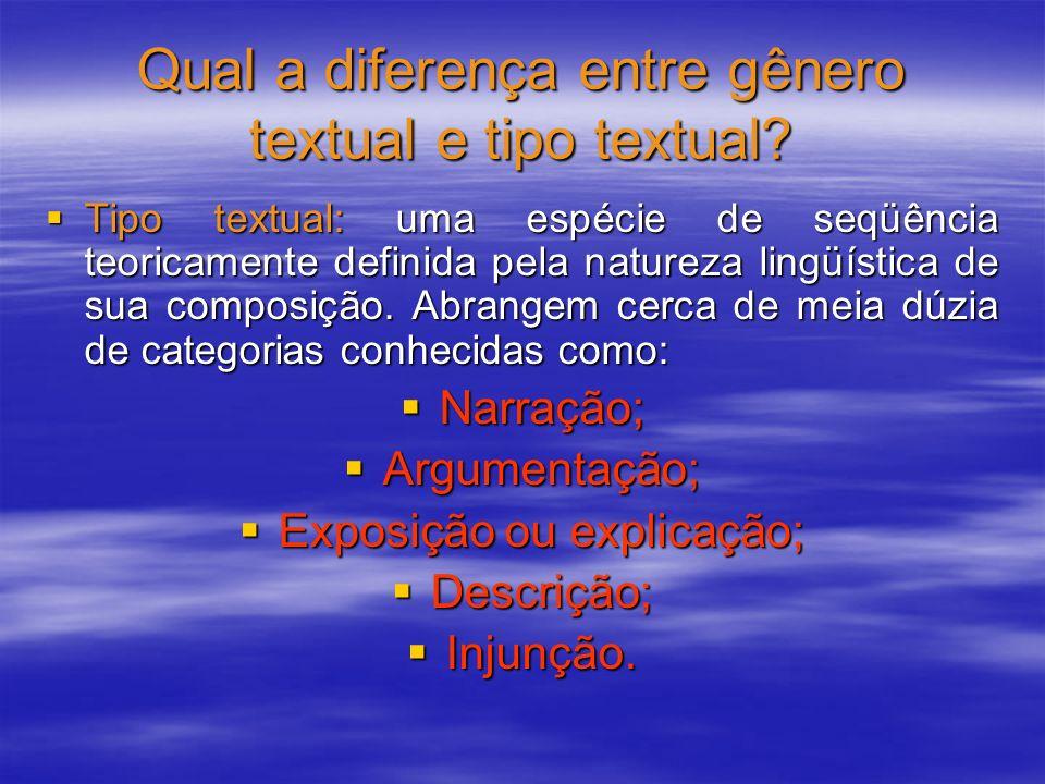 Qual a diferença entre gênero textual e tipo textual? Tipo textual: uma espécie de seqüência teoricamente definida pela natureza lingüística de sua co