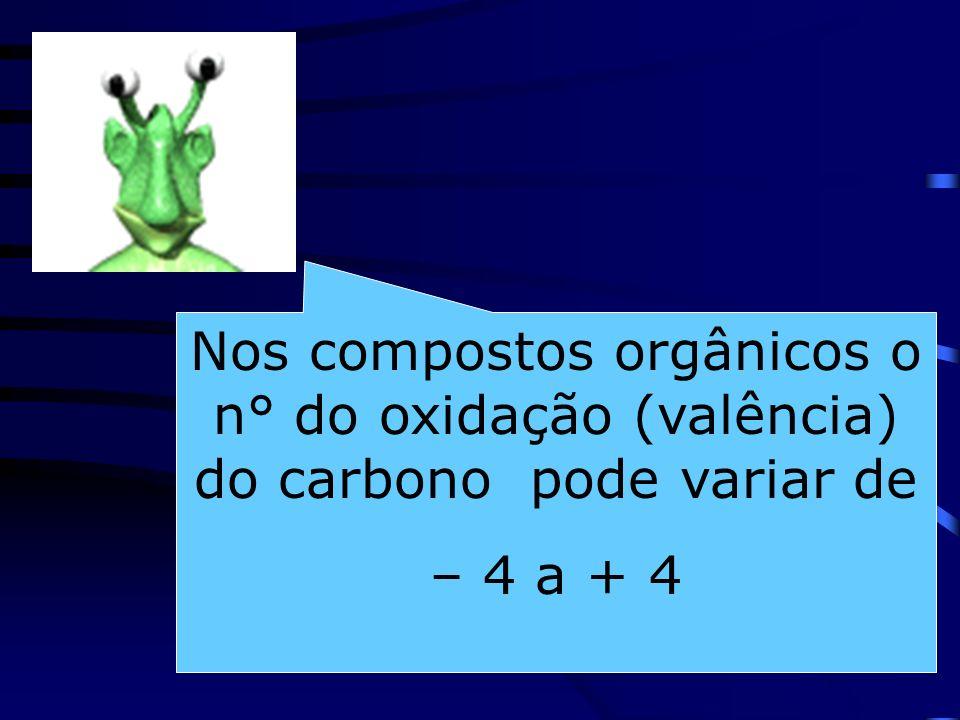 Nos compostos orgânicos o n° do oxidação (valência) do carbono pode variar de – 4 a + 4