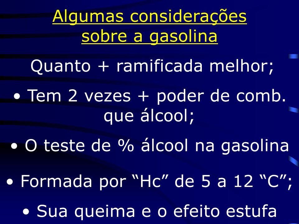 Gasolina : a fração + importante O chumbo Octanagem (Brasil:85 octanas) O craqueamento (160L petróleo não craqueado 25L gasol.; craqueado:75L) A polimerização O enxofre no petróleo Derivados - gás, gasolina, querosene,diesel,óleos,parafina, piche,plásticos,borrachas...