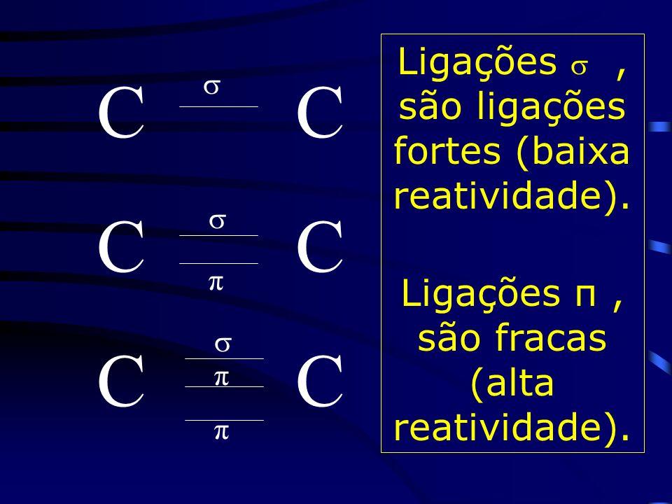 C Ligações, são ligações fortes (baixa reatividade).