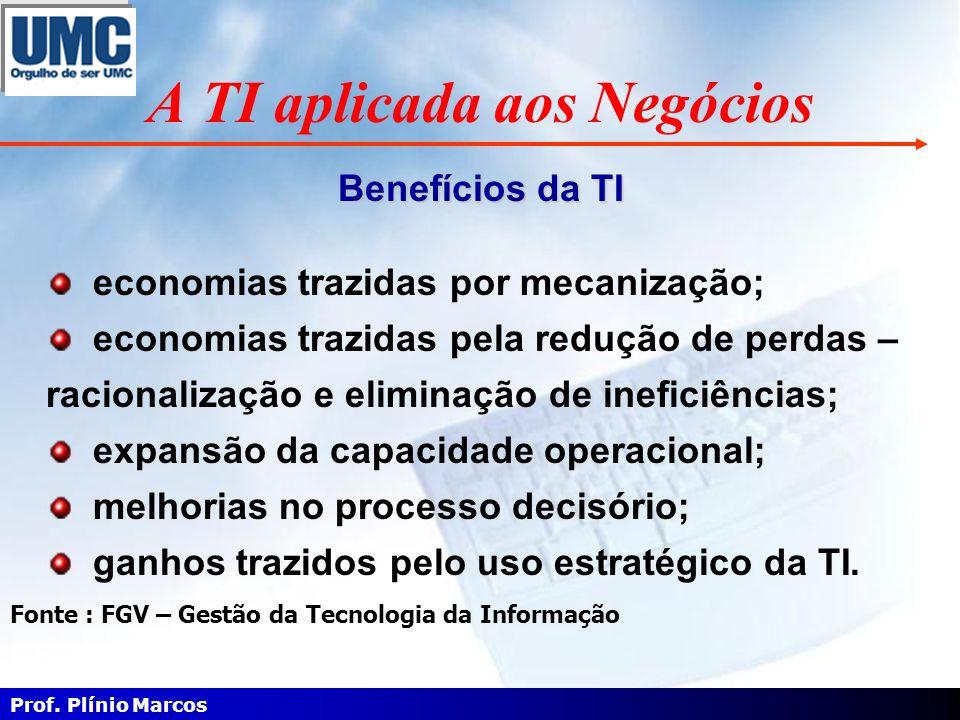A TI aplicada aos Negócios economias trazidas por mecanização; economias trazidas pela redução de perdas – racionalização e eliminação de ineficiência