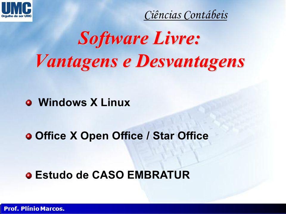 Software Livre: Vantagens e Desvantagens Windows X Linux Office X Open Office / Star Office Estudo de CASO EMBRATUR Informática Aplicada Ciências Cont