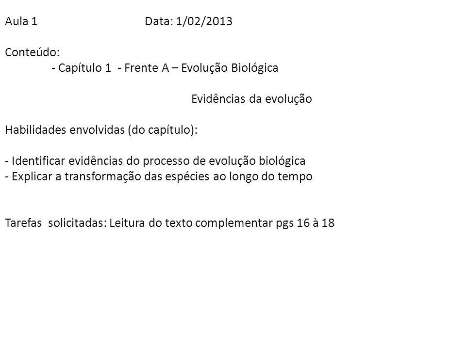 Aula 1Data: 1/02/2013 Conteúdo: - Capítulo 1 - Frente A – Evolução Biológica Evidências da evolução Habilidades envolvidas (do capítulo): - Identifica