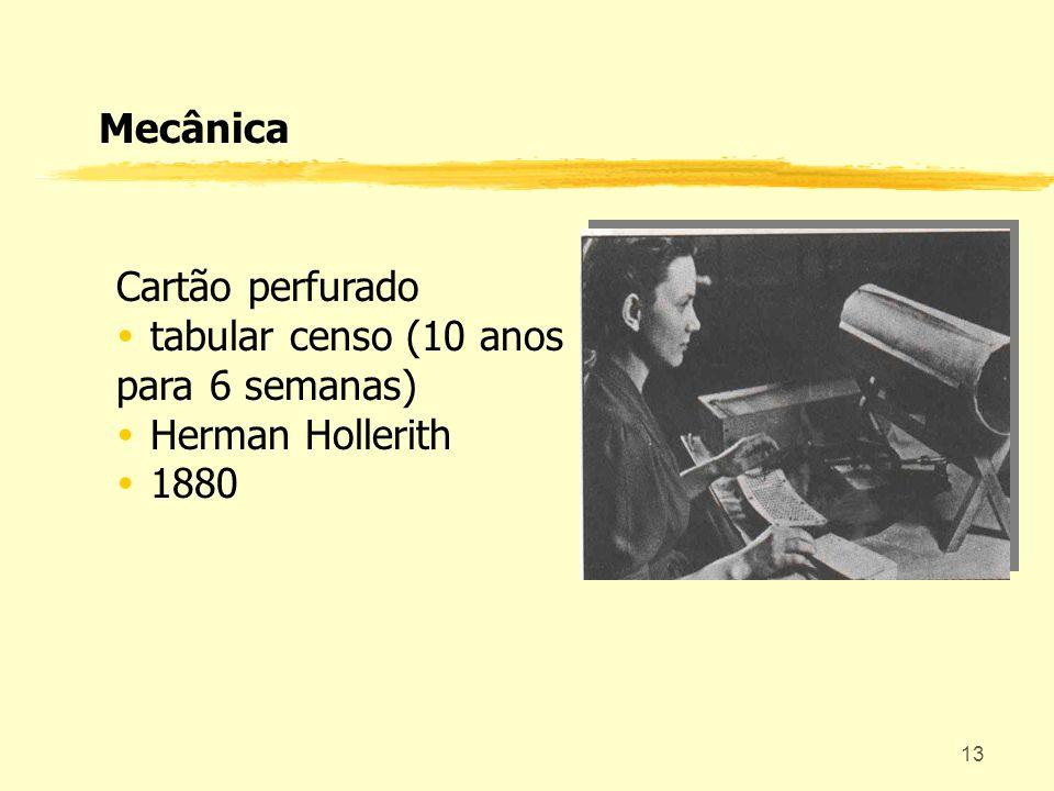 13 Cartão perfurado tabular censo (10 anos para 6 semanas) Herman Hollerith 1880 Mecânica