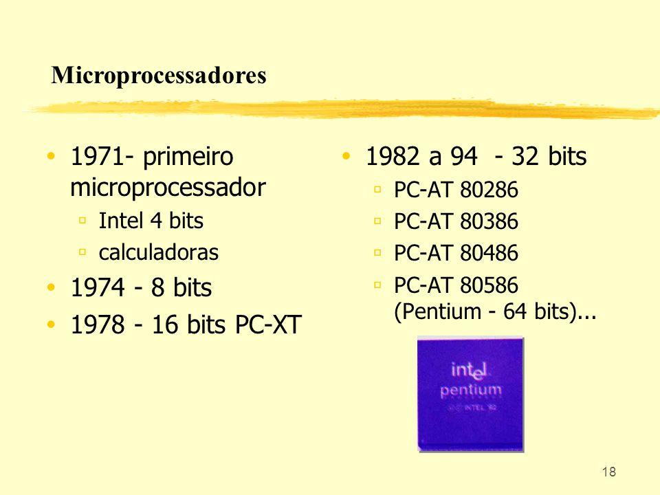 18 1971- primeiro microprocessador Intel 4 bits calculadoras 1974 - 8 bits 1978 - 16 bits PC-XT 1982 a 94 - 32 bits PC-AT 80286 PC-AT 80386 PC-AT 8048