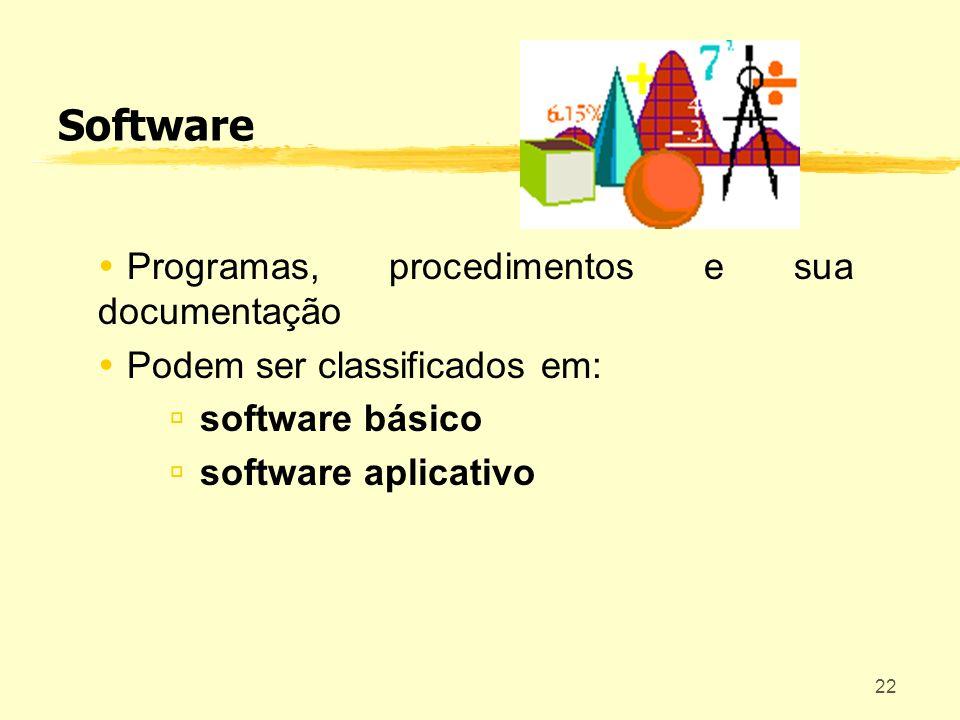 22 Software Programas, procedimentos e sua documentação Podem ser classificados em: software básico software aplicativo