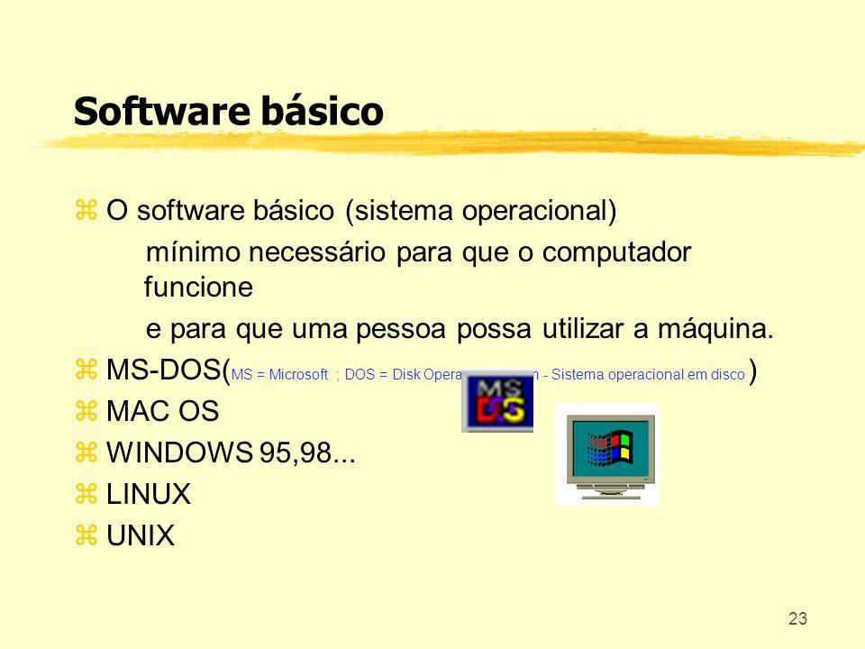 23 Software básico O software básico (sistema operacional) mínimo necessário para que o computador funcione e para que uma pessoa possa utilizar a máq