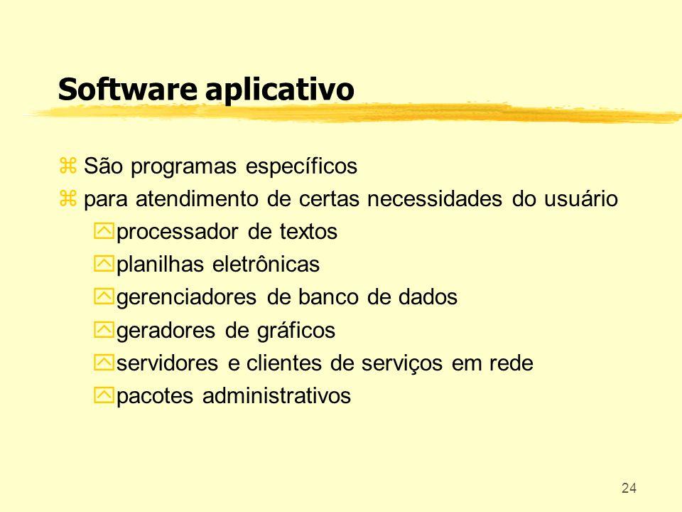 24 Software aplicativo São programas específicos para atendimento de certas necessidades do usuário processador de textos planilhas eletrônicas gerenc