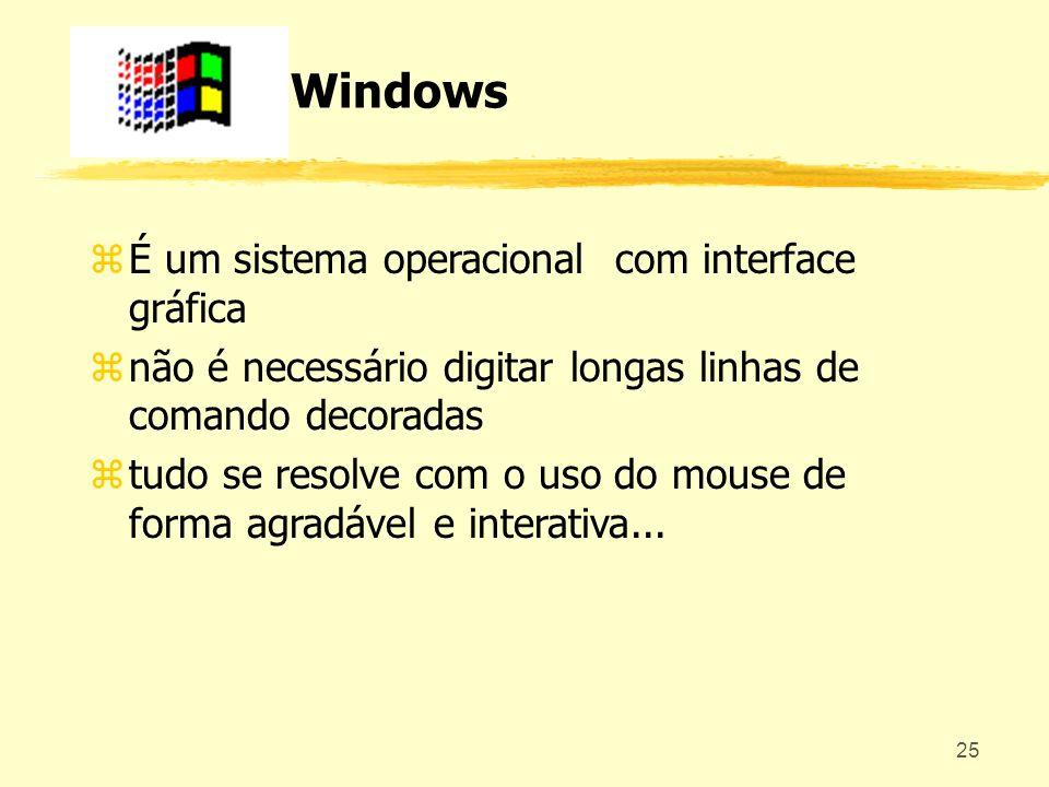 25 Windows zÉ um sistema operacional com interface gráfica znão é necessário digitar longas linhas de comando decoradas ztudo se resolve com o uso do