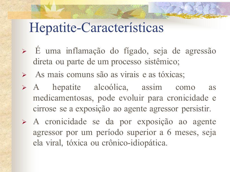 Hepatite-Características É uma inflamação do fígado, seja de agressão direta ou parte de um processo sistêmico; As mais comuns são as virais e as tóxicas; A hepatite alcoólica, assim como as medicamentosas, pode evoluir para cronicidade e cirrose se a exposição ao agente agressor persistir.