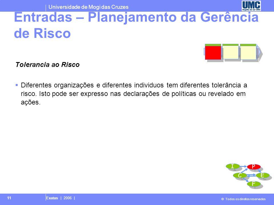 Universidade de Mogi das Cruzes © Todos os direitos reservados Exatas | 2006 | 11 Tolerancia ao Risco Diferentes organizações e diferentes individuos
