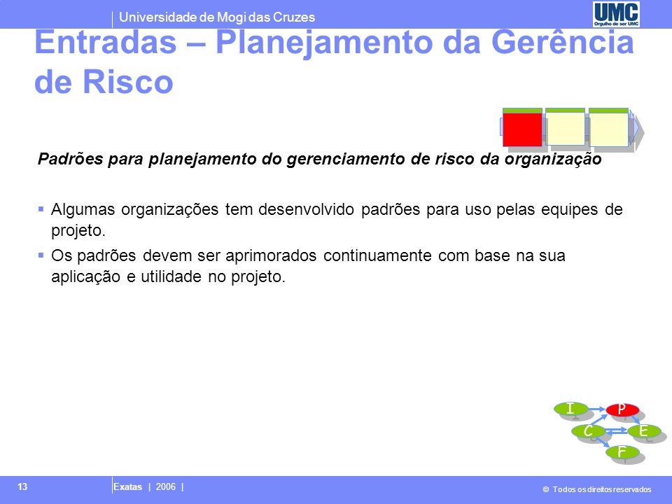 Universidade de Mogi das Cruzes © Todos os direitos reservados Exatas | 2006 | 13 Padrões para planejamento do gerenciamento de risco da organização A