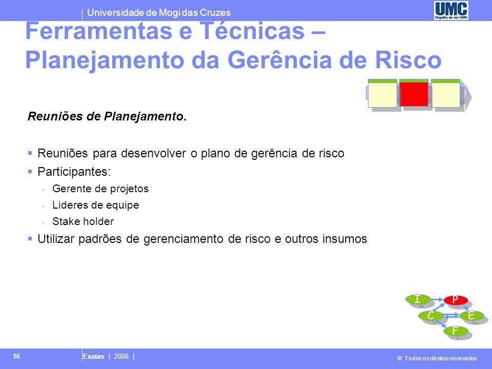 Universidade de Mogi das Cruzes © Todos os direitos reservados Exatas | 2006 | 17 Saídas – Planejamento da Gerência de Risco Plano de gerência de risco I I P P C C E E F F