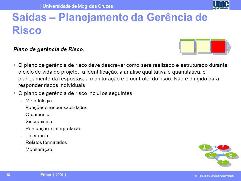 Universidade de Mogi das Cruzes © Todos os direitos reservados Exatas | 2006 | 18 Plano de gerência de Risco. O plano de gerência de risco deve descre