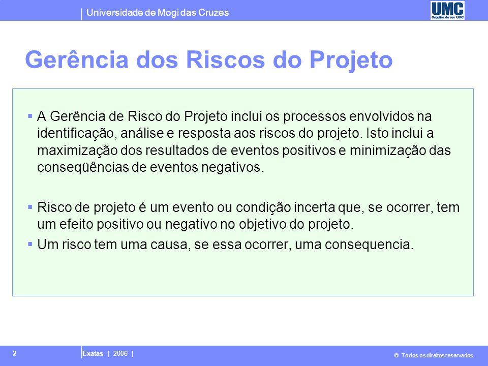 Universidade de Mogi das Cruzes © Todos os direitos reservados Exatas | 2006 | 2 Gerência dos Riscos do Projeto A Gerência de Risco do Projeto inclui