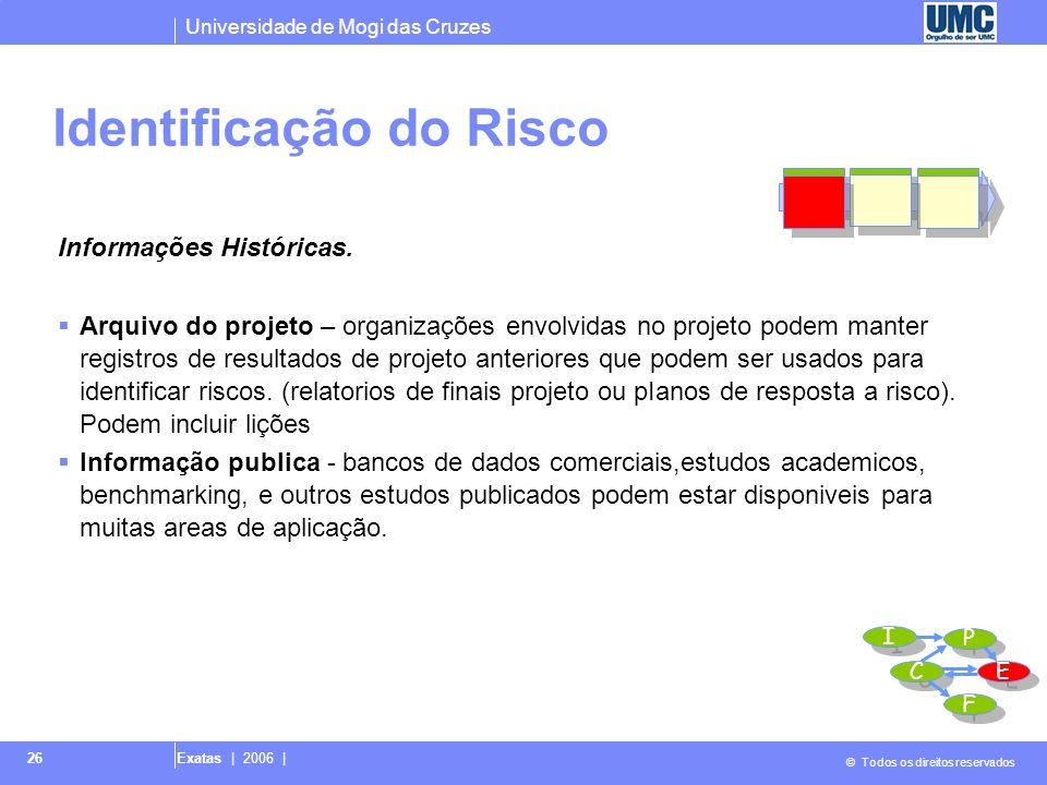 Universidade de Mogi das Cruzes © Todos os direitos reservados Exatas | 2006 | 26 Informações Históricas. Arquivo do projeto – organizações envolvidas