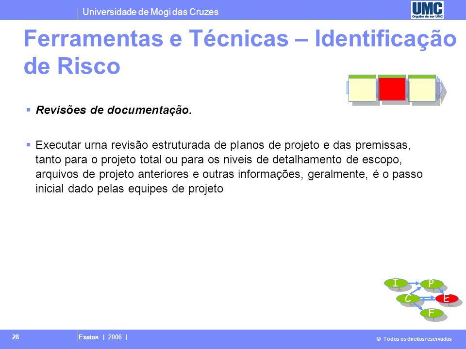 Universidade de Mogi das Cruzes © Todos os direitos reservados Exatas | 2006 | 28 Revisões de documentação. Executar urna revisão estruturada de pIano