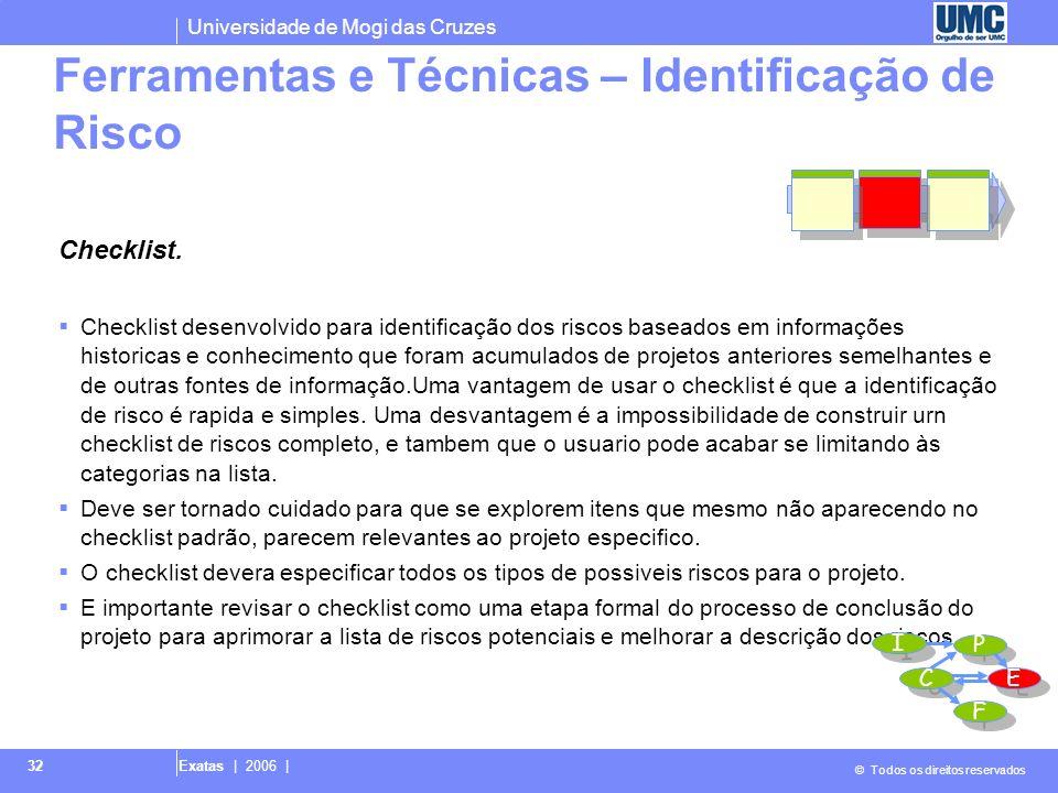 Universidade de Mogi das Cruzes © Todos os direitos reservados Exatas | 2006 | 32 Checklist. Checklist desenvolvido para identificação dos riscos base