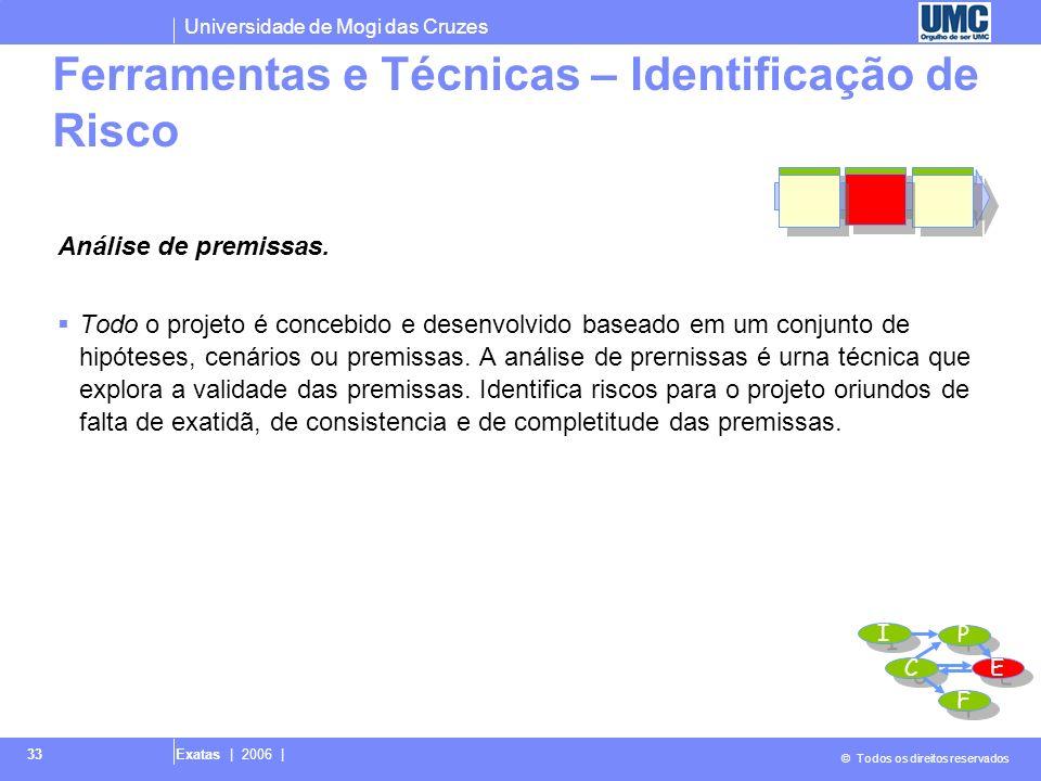 Universidade de Mogi das Cruzes © Todos os direitos reservados Exatas | 2006 | 33 Análise de premissas. Todo o projeto é concebido e desenvolvido base