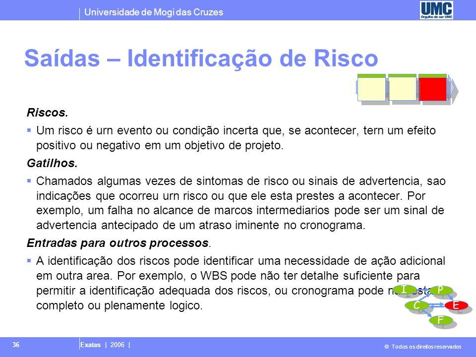 Universidade de Mogi das Cruzes © Todos os direitos reservados Exatas | 2006 | 36 Saídas – Identificação de Risco Riscos. Um risco é urn evento ou con