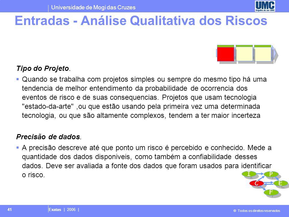Universidade de Mogi das Cruzes © Todos os direitos reservados Exatas | 2006 | 42 Escalas de probabilidade e impacto.