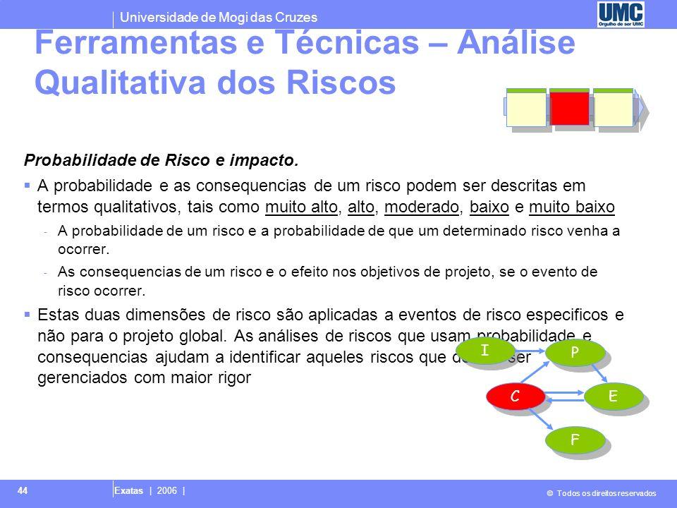 Universidade de Mogi das Cruzes © Todos os direitos reservados Exatas | 2006 | 44 Probabilidade de Risco e impacto. A probabilidade e as consequencias