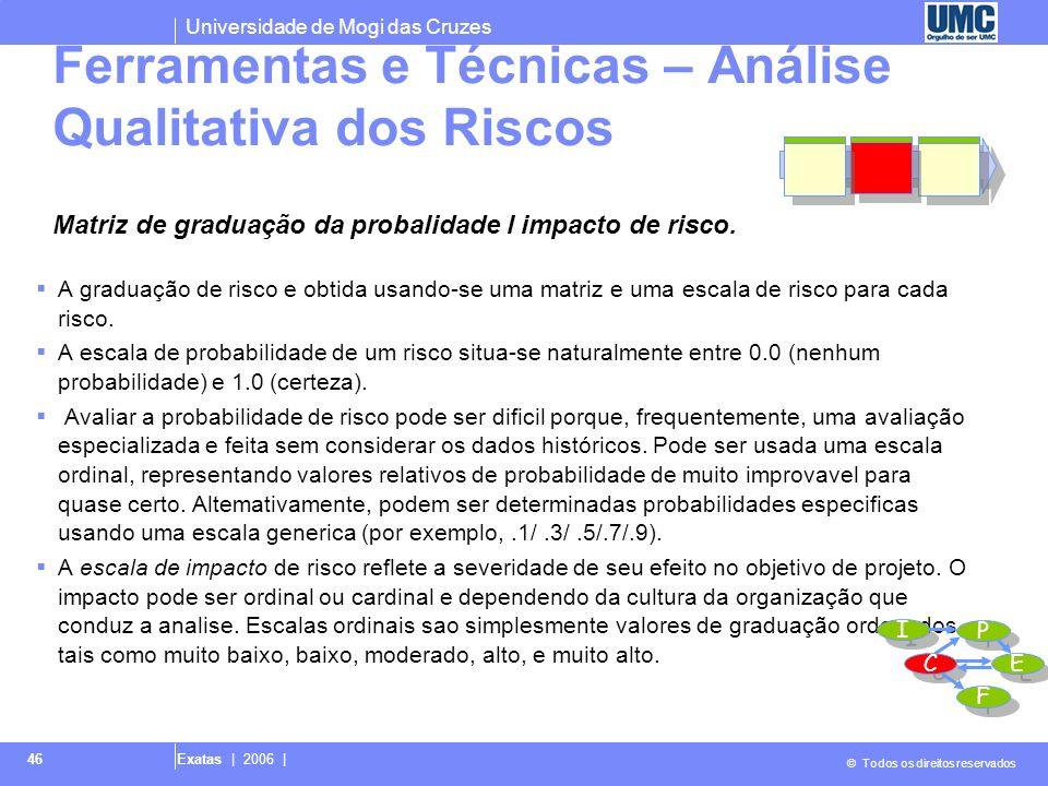 Universidade de Mogi das Cruzes © Todos os direitos reservados Exatas | 2006 | 46 A graduação de risco e obtida usando-se uma matriz e uma escala de r