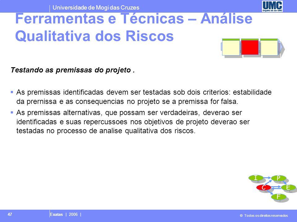 Universidade de Mogi das Cruzes © Todos os direitos reservados Exatas | 2006 | 47 Testando as premissas do projeto. As premissas identificadas devem s