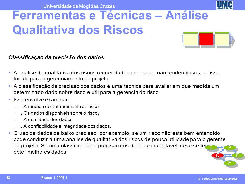 Universidade de Mogi das Cruzes © Todos os direitos reservados Exatas | 2006 | 49 Saídas – Análise Qualitativa de Riscos Classifição do risco global para o projeto.