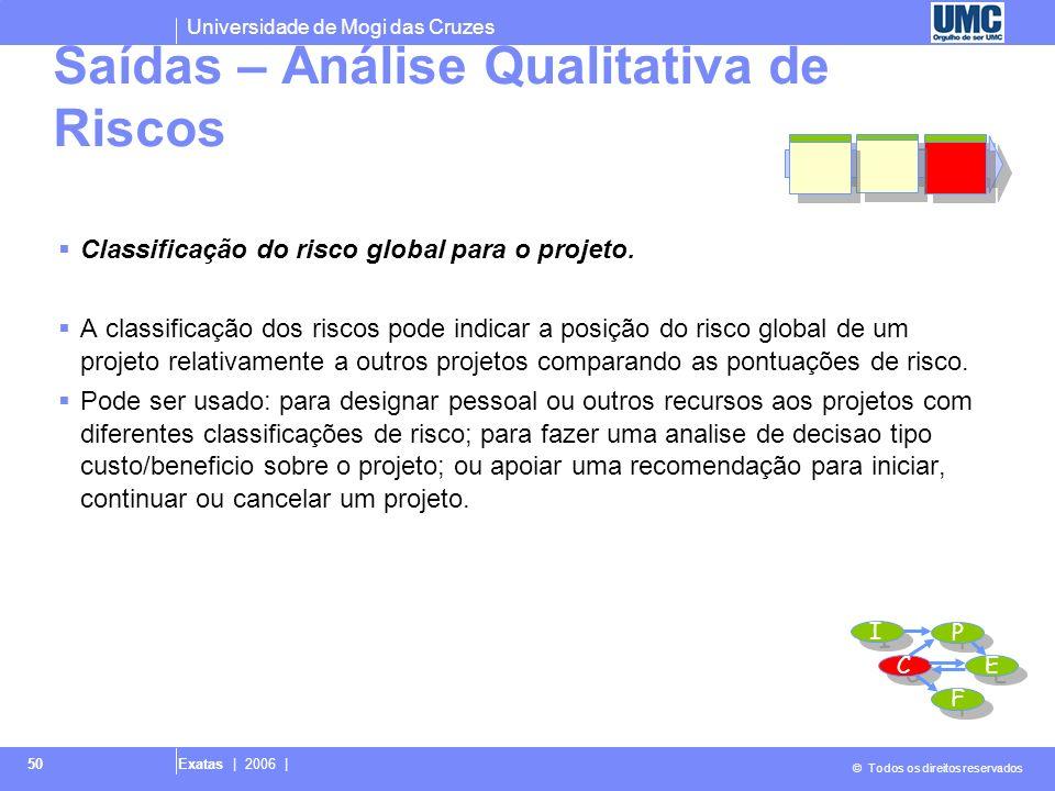 Universidade de Mogi das Cruzes © Todos os direitos reservados Exatas | 2006 | 50 Classificação do risco global para o projeto. A classificação dos ri