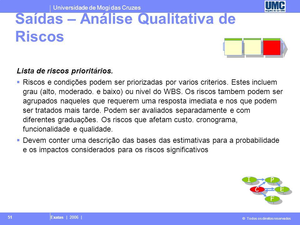 Universidade de Mogi das Cruzes © Todos os direitos reservados Exatas | 2006 | 51 Lista de riscos prioritários. Riscos e condições podem ser priorizad