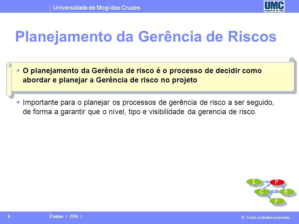 Universidade de Mogi das Cruzes © Todos os direitos reservados Exatas | 2006 | 6 Planejamento da Gerência de Riscos O planejamento da Gerência de risc