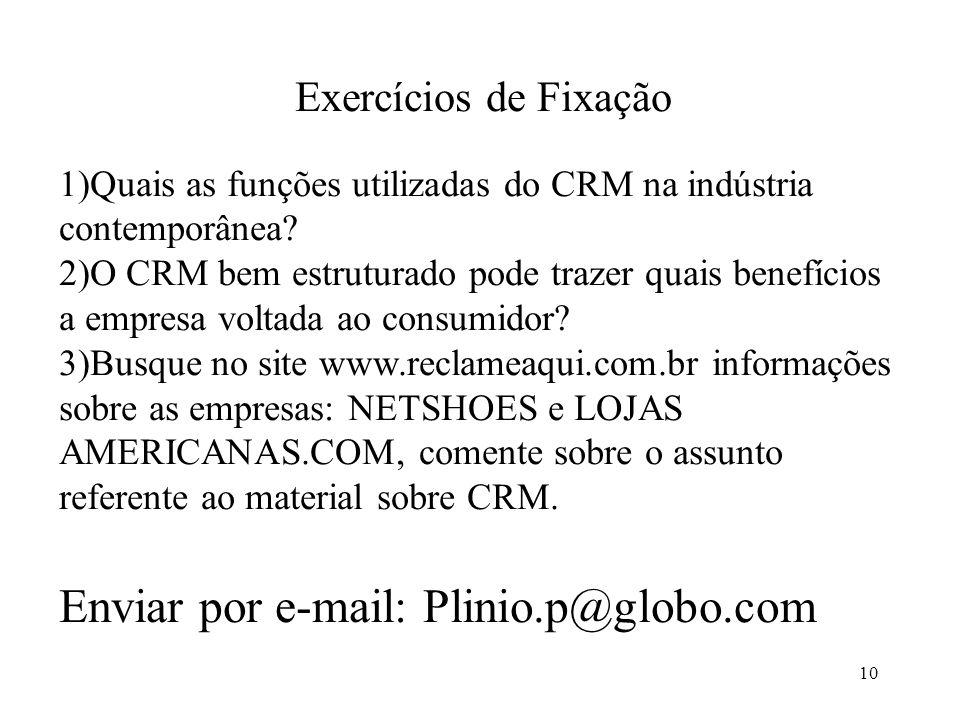 10 Exercícios de Fixação 1)Quais as funções utilizadas do CRM na indústria contemporânea.