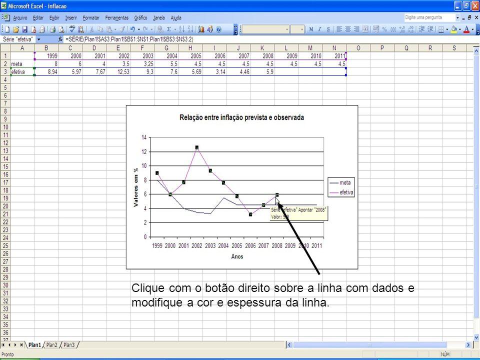 Clique com o botão direito sobre a linha com dados e modifique a cor e espessura da linha.