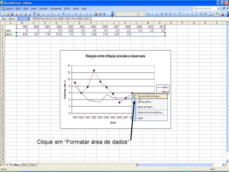 Clique em Formatar área de dados