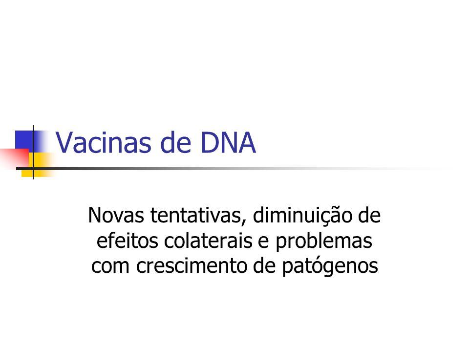 Vacinas de DNA Novas tentativas, diminuição de efeitos colaterais e problemas com crescimento de patógenos
