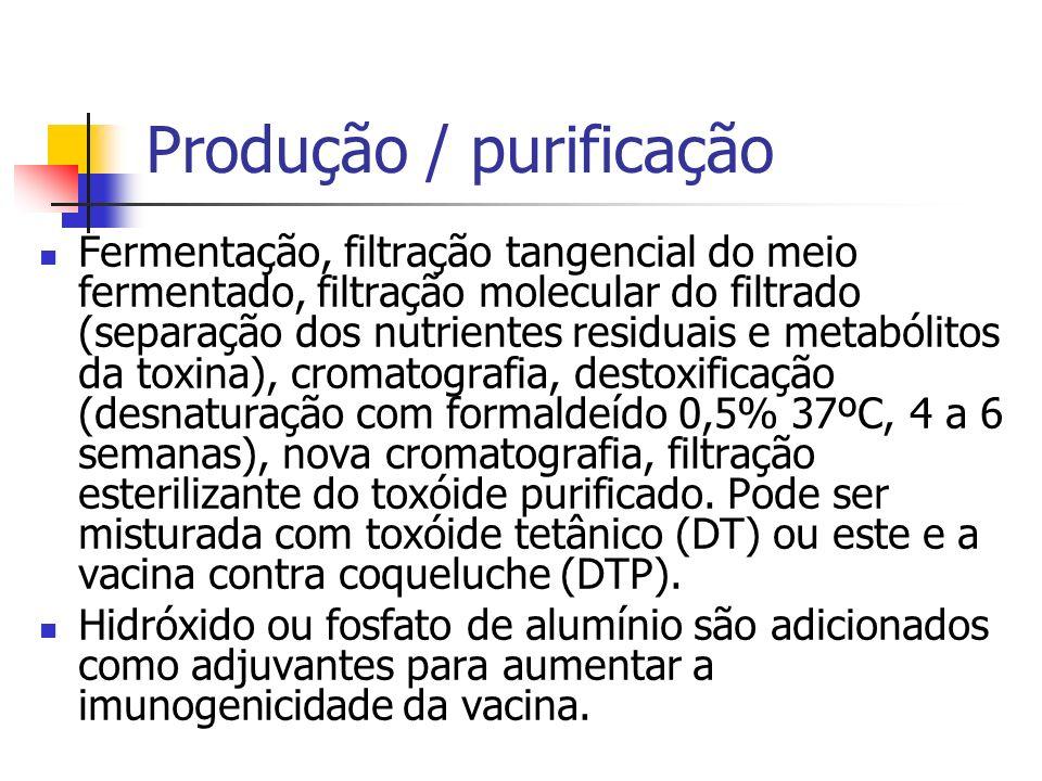 Produção / purificação Fermentação, filtração tangencial do meio fermentado, filtração molecular do filtrado (separação dos nutrientes residuais e met