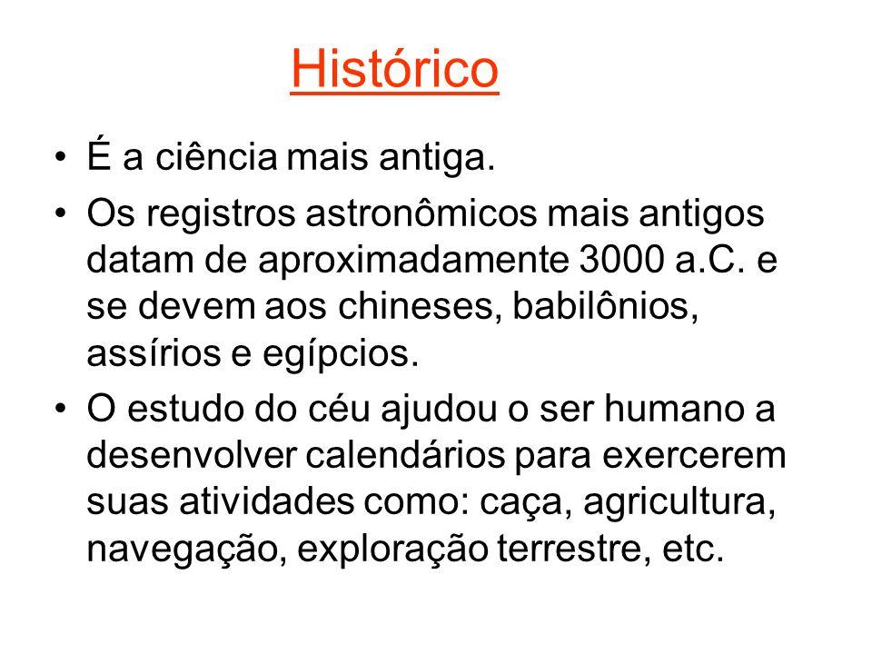 Histórico É a ciência mais antiga. Os registros astronômicos mais antigos datam de aproximadamente 3000 a.C. e se devem aos chineses, babilônios, assí