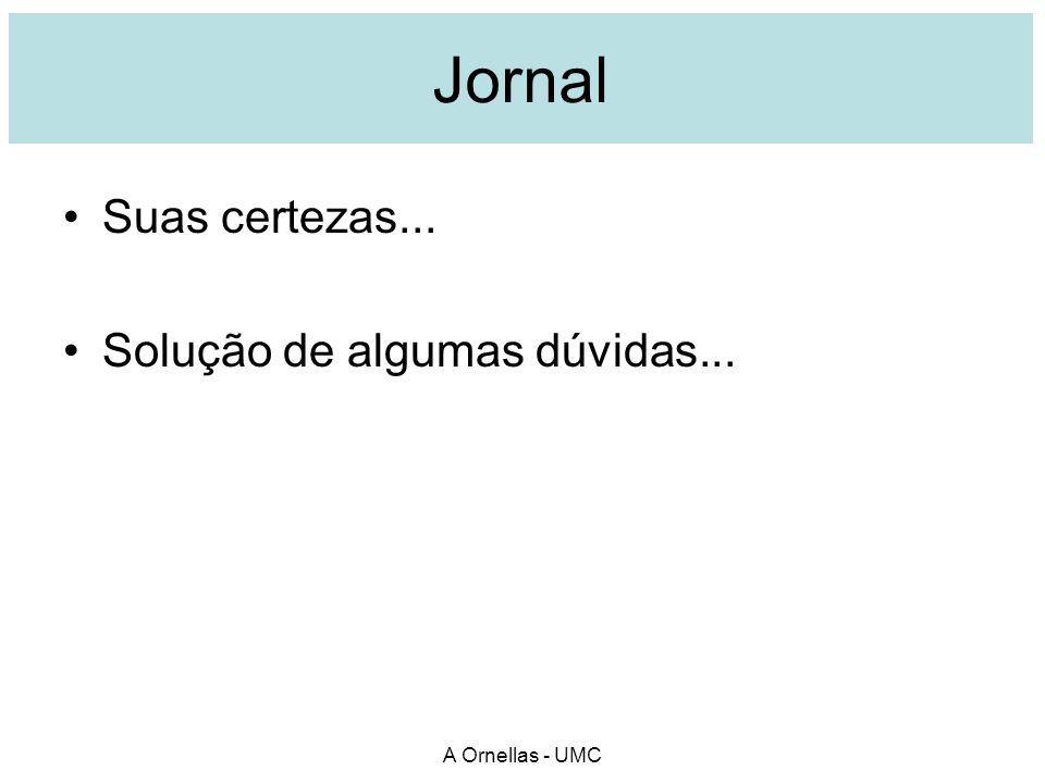 Jornal Suas certezas... Solução de algumas dúvidas... A Ornellas - UMC