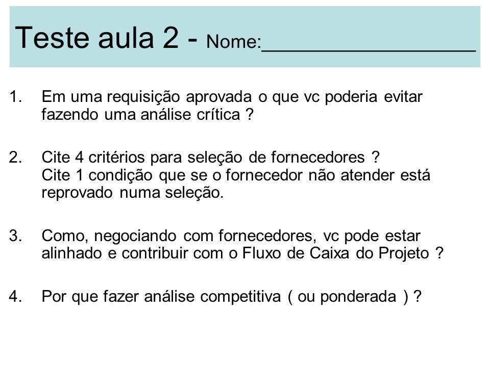 Teste aula 2 - Nome:____________________ 1.Em uma requisição aprovada o que vc poderia evitar fazendo uma análise crítica ? 2.Cite 4 critérios para se