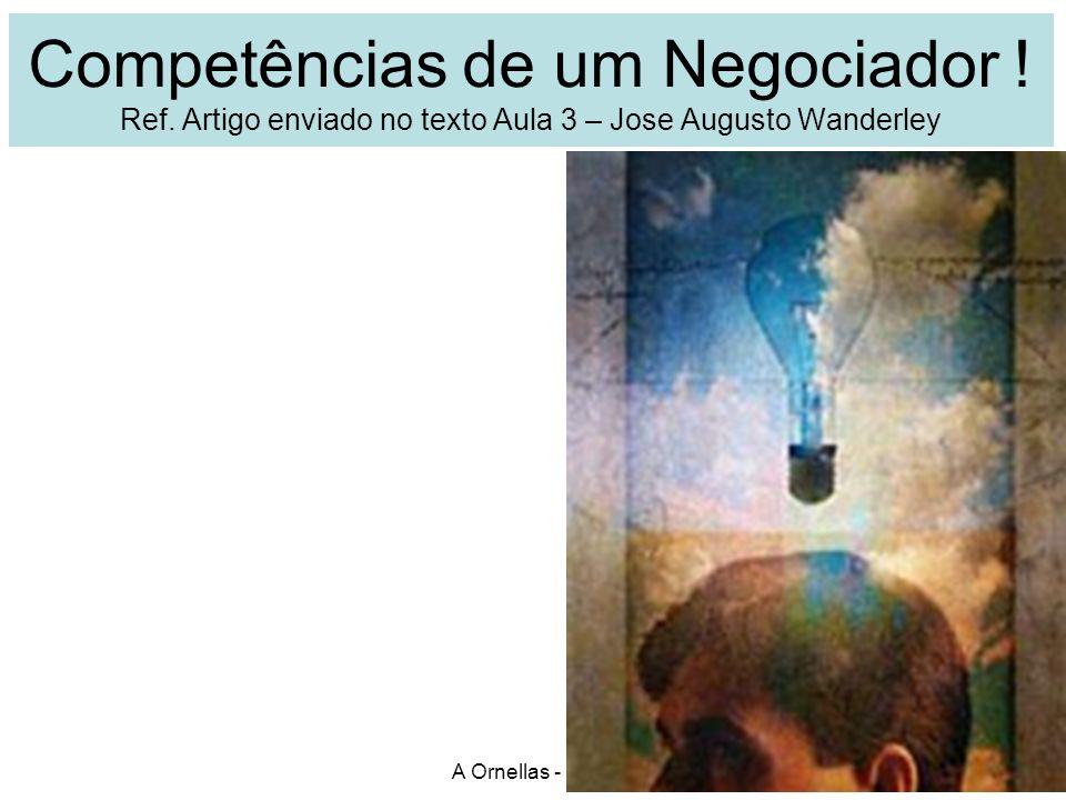 Competências de um Negociador ! Ref. Artigo enviado no texto Aula 3 – Jose Augusto Wanderley A Ornellas - UMC