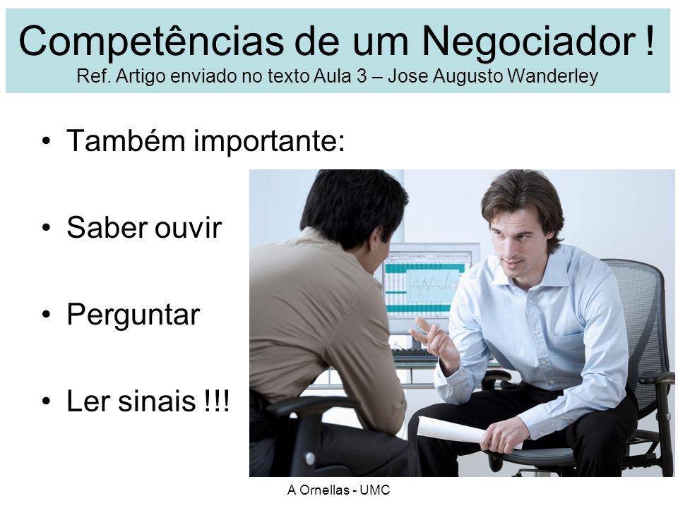 Competências de um Negociador ! Ref. Artigo enviado no texto Aula 3 – Jose Augusto Wanderley Também importante: Saber ouvir Perguntar Ler sinais !!! A