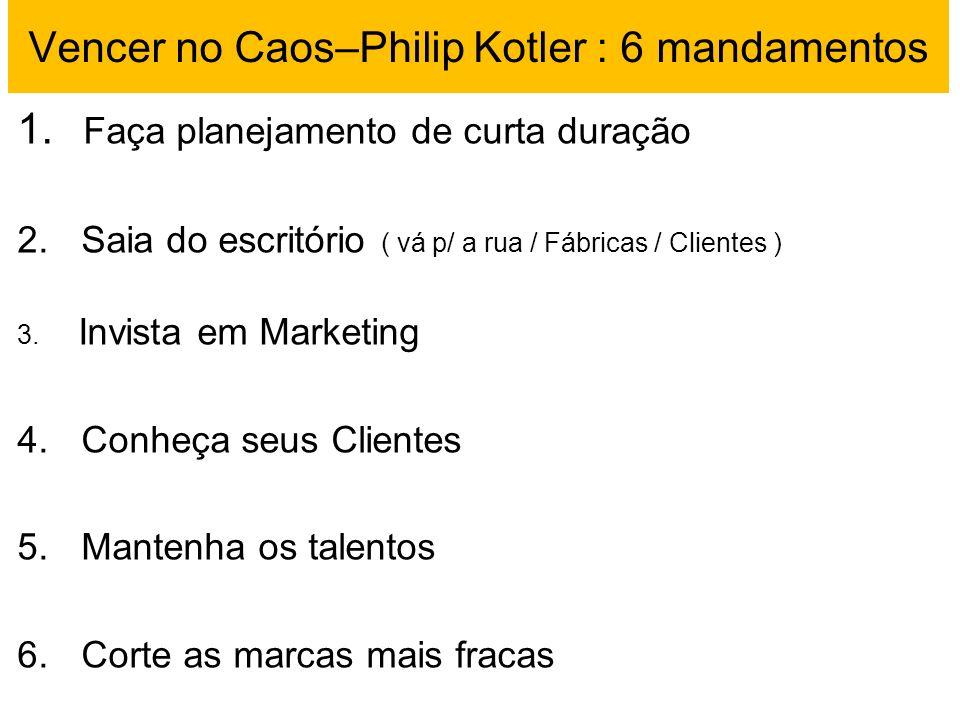 Vencer no Caos–Philip Kotler : 6 mandamentos 1. Faça planejamento de curta duração 2. Saia do escritório ( vá p/ a rua / Fábricas / Clientes ) 3. Invi