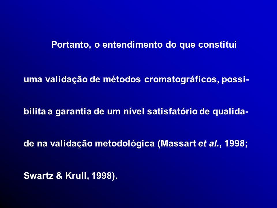 Portanto, o entendimento do que constituí uma validação de métodos cromatográficos, possi- bilita a garantia de um nível satisfatório de qualida- de na validação metodológica (Massart et al., 1998; Swartz & Krull, 1998).