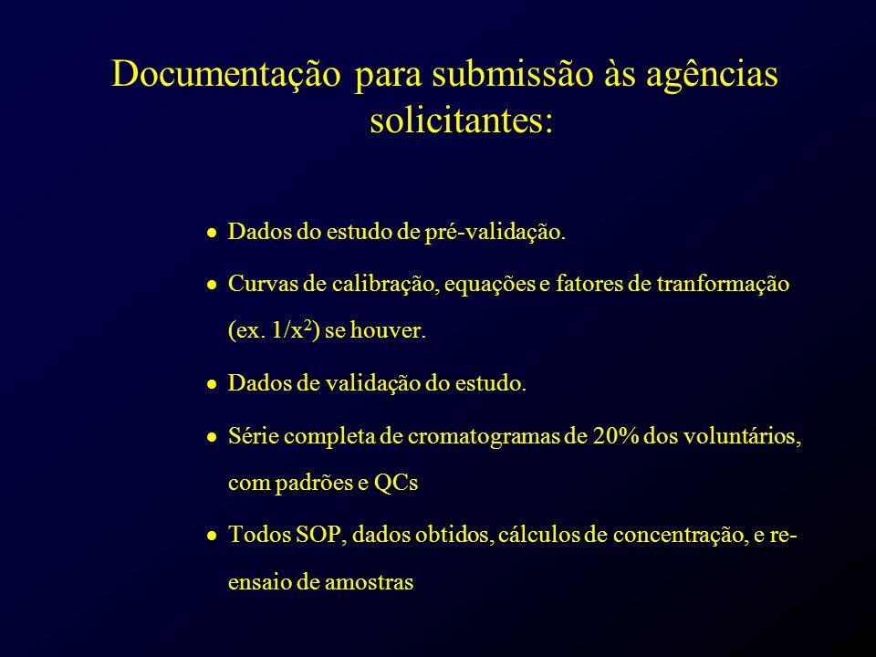 Documentação para submissão às agências solicitantes: Dados do estudo de pré-validação. Curvas de calibração, equações e fatores de tranformação (ex.